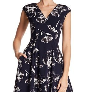 Navy Vneck Dress with Black/White Flowers EUC